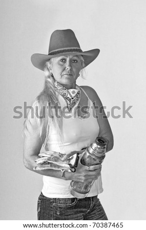 d3b51eb1f5f31 Woman Rancher Ready Ride Out Work Stock Photo (Edit Now) 70387465 ...