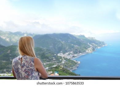 Woman in Ravelo at Amalfi coast in Southern Italy