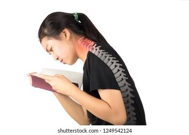 woman read book feel neck bone pain