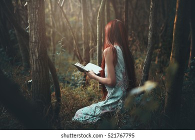 Woman reading alone in the woods. Dark fantasy