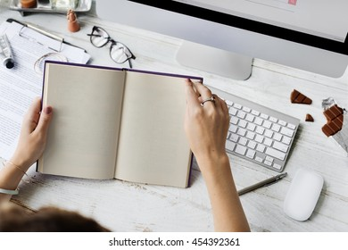 Woman Reading Book Workspace Lifestyle Concept