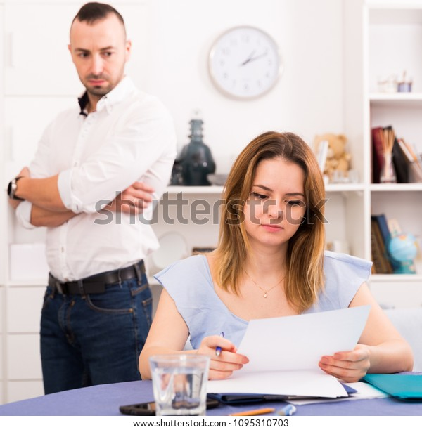 Woman Reading Marriage Contract Table Home Stock Photo (Edit Now