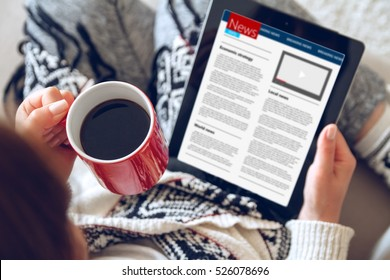 Woman reading news on tablet with cup of coffee. Online education concept. e-learning. top view