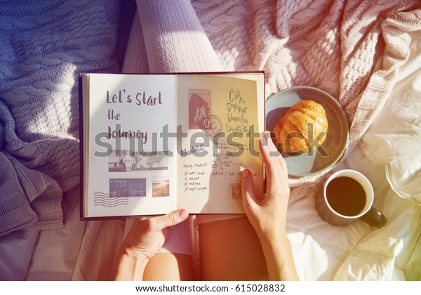 Woman Reading Note Diary On Bed Breakfast Morning
