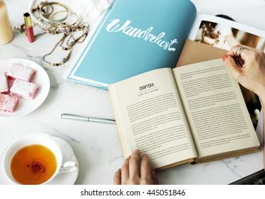 Woman Reading Novel Fiction Magazine Relax Hobby Concept