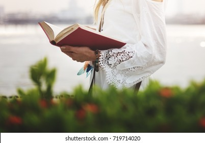Woman Reading Outdoors Leisure Peaceful Concept