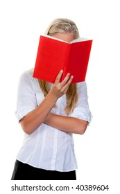 Woman is reading a red book: