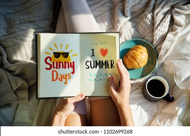 Woman reading a summer story in bed