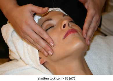 Woman Receives Facial Massage