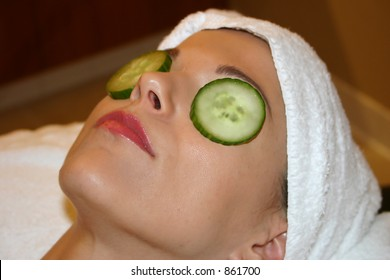Woman Receives Facial at Spa