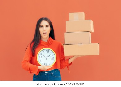 Woman Receiving Online Order in Cardboard Packages on Time. Female delivery customer happy the parcels arrived fast