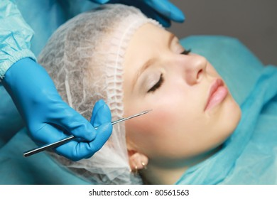 A woman receiving plastic operation