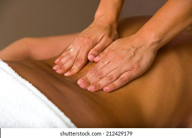 woman receiving professional relaxing massage.