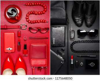 Woman red and black luxury accessories for business, office life and for parties, weekends and free time, fashion industry, modern life concept, official and non-official visits