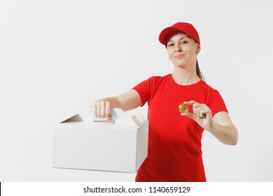 Woman in red cap, t-shirt giving food order cake box isolated on white background. Female courier holding dessert in unmarked cardboard box, bitcoin, coin of golden color. Delivery service concept