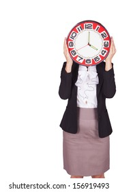 Woman with red clock.