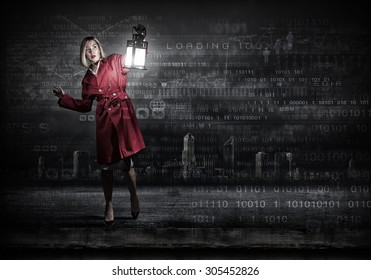 Woman in red coat with lantern lost among binary codes
