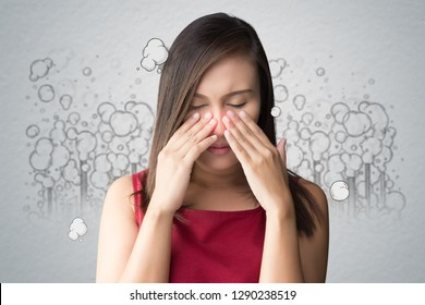 A woman in a red dress catches her nose because of a bad smell, Against toxic smoke cartoon background, Poor quality of life in the city, Quality of life of urban people