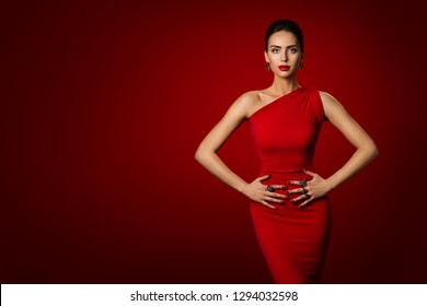 Woman Red Dress, Fashion Model Elegant Gown, Young Girl Beauty Portrait over Red Background