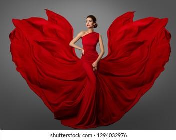 Woman Red Dress, Fashion Model in Long Silk Waving Gown Wings, Flying Fluttering Fabric