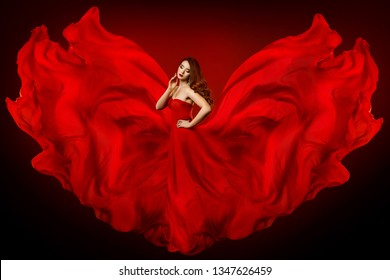 Woman Red Dress, Fashion Model in Long Silk Gown Waving Cloth as Wings, Fantasy Girl in Flying Fluttering Fabric