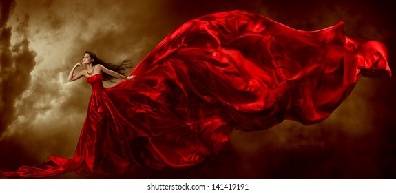 Woman Red Dress, Fashion Model Waving Flying Fabric, Lady in Glamour Art Gown Cloth