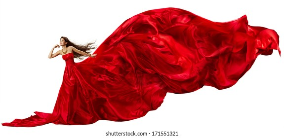 Woman in Red Dress with Flying Fabric, Silk Cloth Waving and Fluttering on Wind, Isolated over White Background