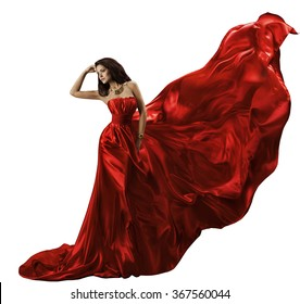 Woman Red Dress on White, Waving Flying Silk Fabric, Beauty Model