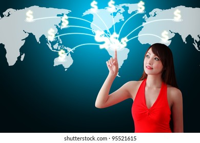 Woman in red dress touch the Money icon on the World map