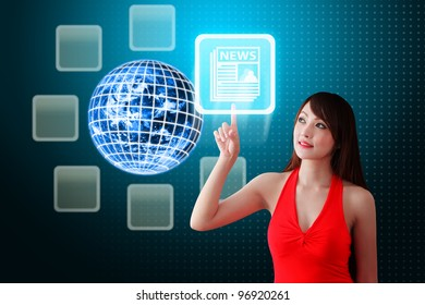 Woman in red dress touch the News icon : Elements of this image furnished by NASA