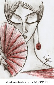 A woman with red fan