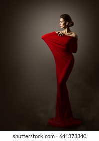 Woman Red Fashion Dress Art, Elegant Model Posing Artistic Long Gown, Sexy Body in Fitting Fabric