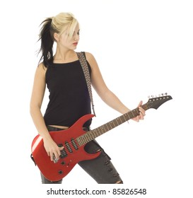 Woman with red guitar isolated on white