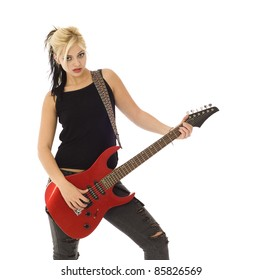 Woman with red guitar looking at you isolated on white