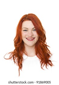 Woman with red hair isolated on white background