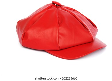 Woman red hat isolated on white background.