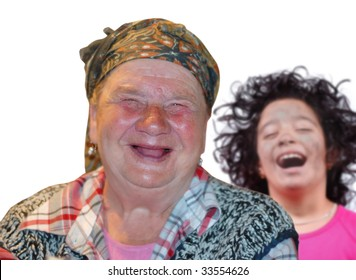 Woman with red interesting face and little girl are laughing