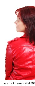 woman in red jacket on white background