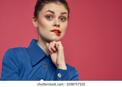 woman with red lips, emotions