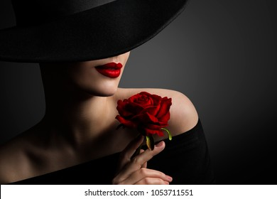 Woman Red Lips and Rose Flower, Fashion Model Beauty Portrait in Retro Hat on Black background