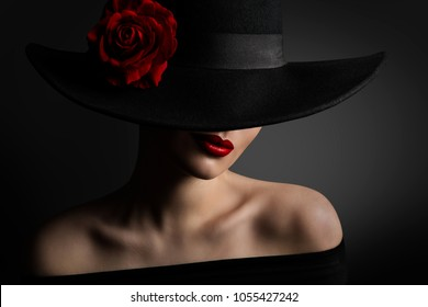 f28bf3cb30a Woman Red Lips and Rose Flower in Hat