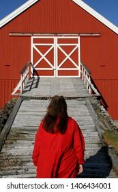 Woman in red with long harir walking up a hay barn bridge.