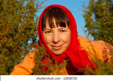 The woman in a red scarf