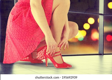 woman in red skirt