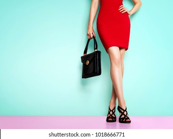 Woman with red skirt standing with black purse bag and shoes. Isolated on light blue background.