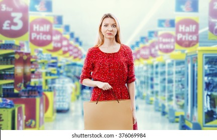 Woman in red in the supermarket.