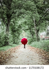 Woman with red umbrella posing in the autumn landscape