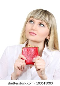 Woman with red wallet isoleted on white