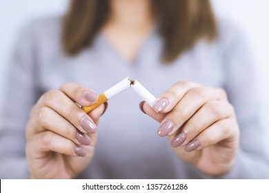 woman refusing cigarettes concept for quitting smoking and healthy lifestyle.or No smoking campaign Concept.
