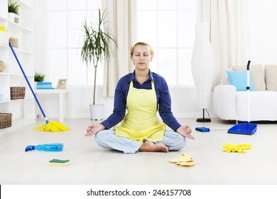 Woman relax after hard  cleaning work